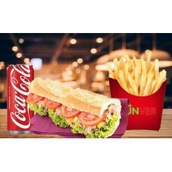 Menu Sandwich fromage, frites, sauces et boissons